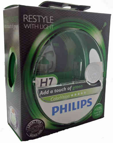 H7 PHILIPS ColorVision green +60% 12972CVPG