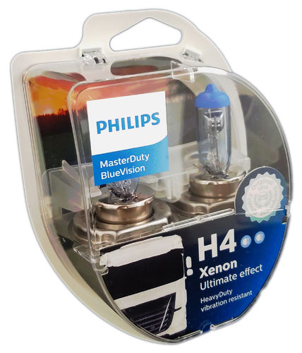 H4 PHILIPS MasterDuty BlueVision 24V 2er Box