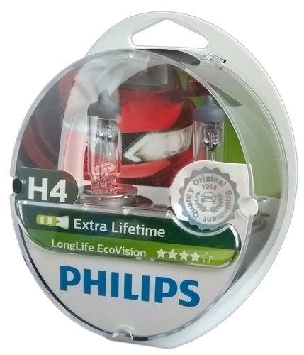 H4 PHILIPS Long Life Eco Vision Lifetime x4